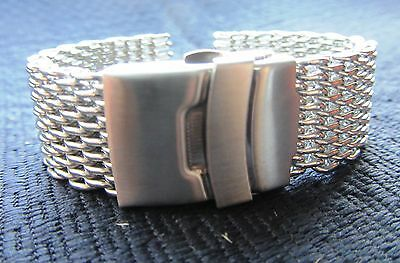 20mm Stainless Steel Shark Mesh Watch Band Bracelet Strap Safety Clasp BNWOT