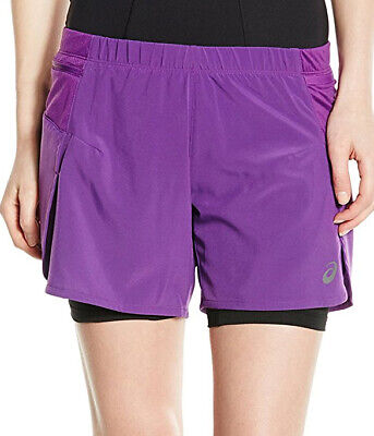Asics Fujitrail 2 In 1 Womens Running Shorts - Purple