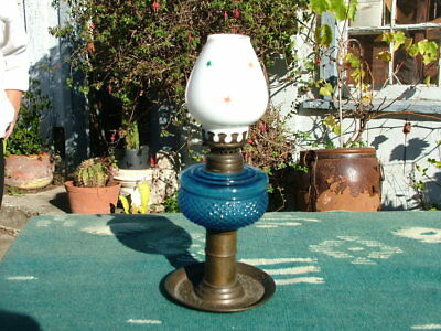Antique Cobalt Blue  Miniature  Oil Lamp  With Milk Glass Stars Shade