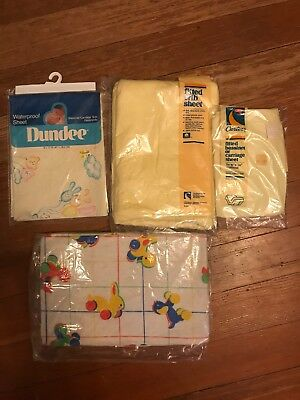 5 Vintage NEW Old Stock Baby Receiving Blankets Crib Set Cotton 70's Yellow