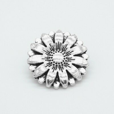 10pcs Metal Sunflower Carved Antique Sewing Craft DIY Silver Shank Buttons Newly