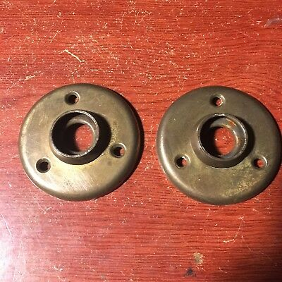 Antique Pair Of  Stamped  Round Door Knob Rosettes #5