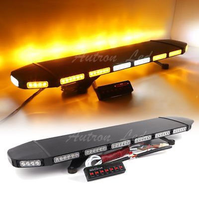 "40"" LED Amber White Strobe Light Bar Traffic Advisor Tow Truck Warning Response"
