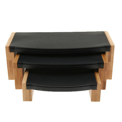 Wood Jewelry Tray Necklace Ring Display Stand Rack Holder Black Leather