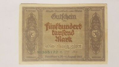 Original Notgeld 500 000 Mark Stadt Frankfurt am Main 1.8.1923 Inflationsgeld