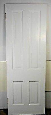 "Antique Vintage 4 Panel Interior Door 78-1/2"" X 27-7/8"" X 1-1/8"" Thick 1890's C4"