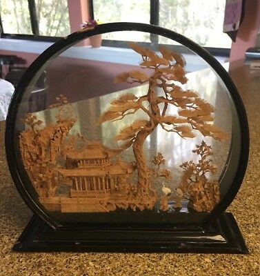 Vintage Asian Oriental Round Carved Cork Art Sculpture Scenic Diorama