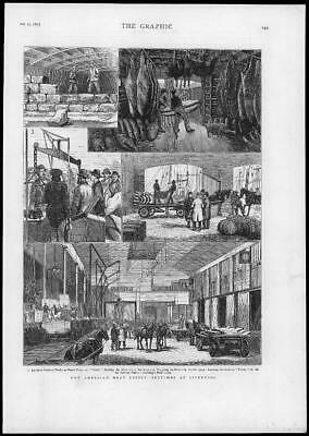 1877 Antique Print - LIVERPOOL American Meat Supply Sketches Railway Ice (143)