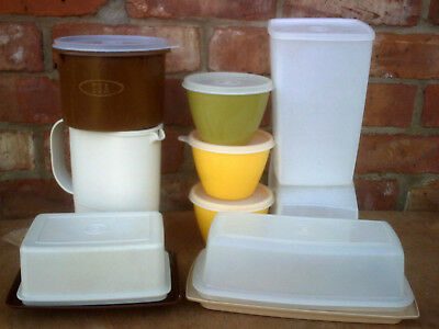 Vintage Retro Tupperware 9 Assorted Fridge Jug And Storage Bowls /containers