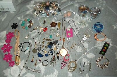 Job lot intact broken costume jewellery beads charms earrings watch for crafts