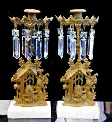 Pair of Antique 19th Century Victorian Gilt Bronze & Crystal Candlestick Holders