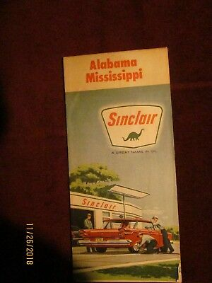 vintage SINCLLAIR  Oil Co. Road Map of ALABAMA and MISSISSIPPI