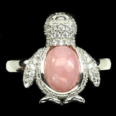 Elegant Oval 8x6mm Pink Opal Cubic Zirconia 925 Sterling Silver Penguin Ring 7.5