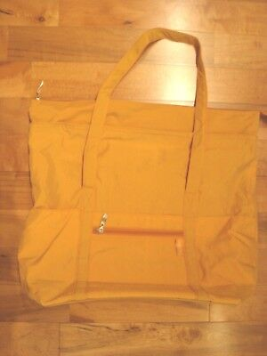 New BAGGALLINI Extra Large Tote Yellow Nylon Red Lining Zip Pockets Wide Bottom