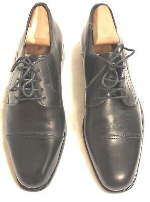 c5d99c336c15 Nordstrom Black Leather Classic Mens Cap Toe Oxford Shoes Size 8M Made in  ITALY