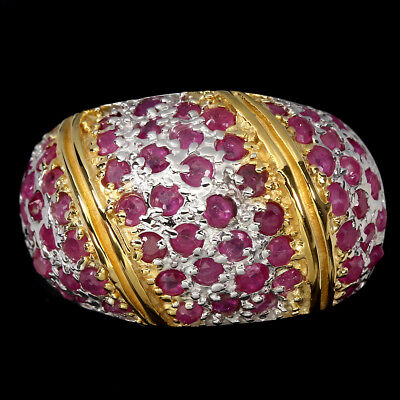Gorgeous Round Cut 2mm Top Rich Red Pink Ruby 925 Sterling Silver Ring Size 7.5