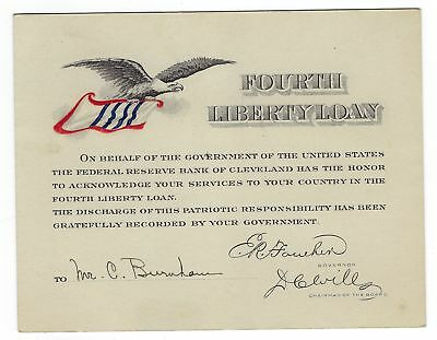 4th Liberty Loan Recognition Card Federal Reserve Bank Cleveland OH WW1
