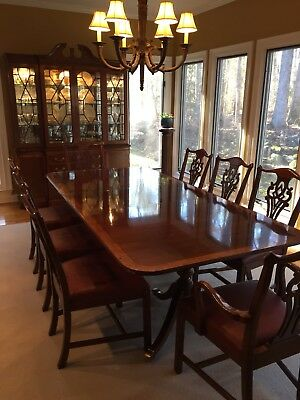 Hickory White Whitehall II Formal Dining Room Suite with Breakfront Walnut