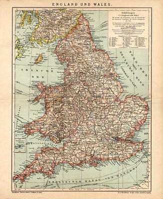 Antique Map-ENGLAND-WALES-GREAT BRITAIN-Meyers-1895