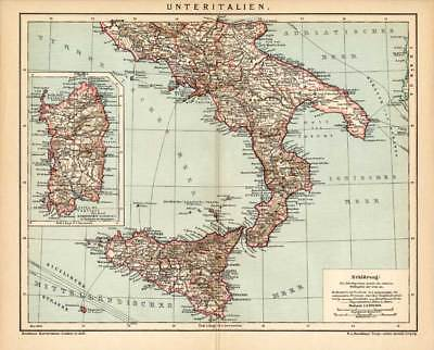 Antique Map-SOUTHERN ITALY-SICILY-SARDINIA-Meyers-1895
