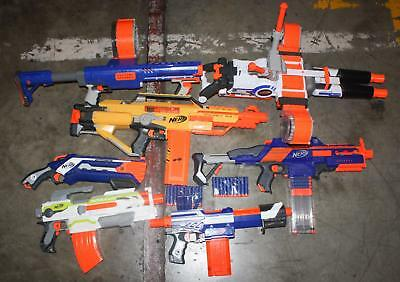 Nerf N-Strike Automatic Blaster Gun Lot of 7 Darts Drums Rhino Fire Stampede ECS