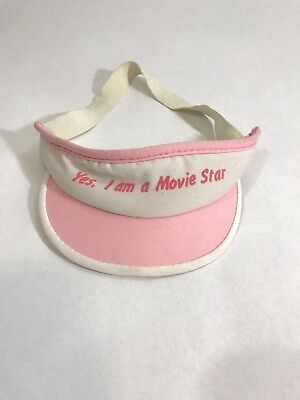 Vintage Kids Visor Yes I am a Movie Star Pink and White Hat Elastic Band