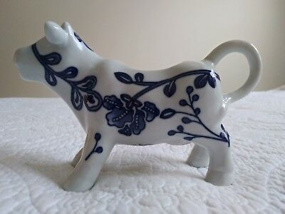 Porcelain Blue & White Standing Cow Creamer Home Edition