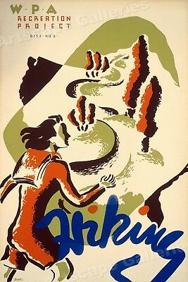 1930s WPA Recreation Project - Hiking Classic Vintage Style Poster - 20x30