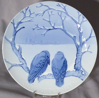 BING & GRONDAHL 1899 Christmas Plate B&G Dahl Jensen CROWS ENJOYING CHRISTMAS
