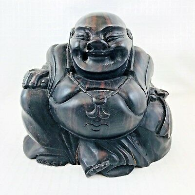 Vintage Laughing Buddha Statue Hand Carved Striped Ebony Wood Bali Indonesia