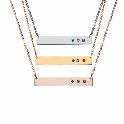 Personalized Engraved Custom Your Name Stainless Steel Crystal Necklace Pendant