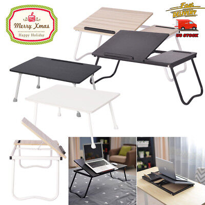 Folding Laptop Desk For Bed & Slot Adjustable Angle Home Study Tray Bed Table US