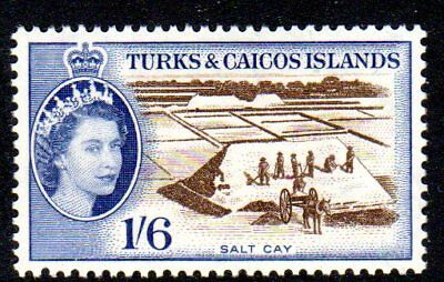 1957 TURKS & CAICOS ISLANDS 1/6d Salt Cay SG247 mint very light hinged