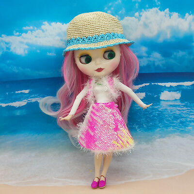 1/6 Handicraft Doll Clothes Summer Outfit for Blythe Doll Accessory Rose Red