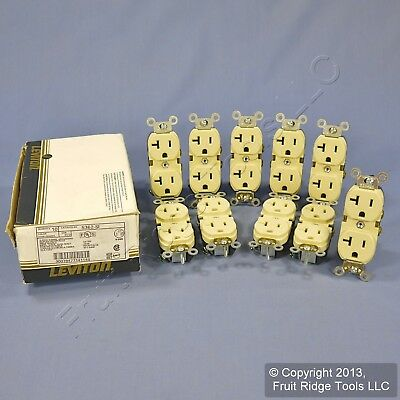 10 New Leviton Ivory INDUSTRIAL Receptacle SLIM Duplex Outlets 5-20R 20A 5362-SI