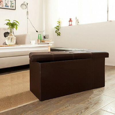 Folding Faux Leather Homelegance Storage Ottoman Stool Shoe Bench Foot Rest