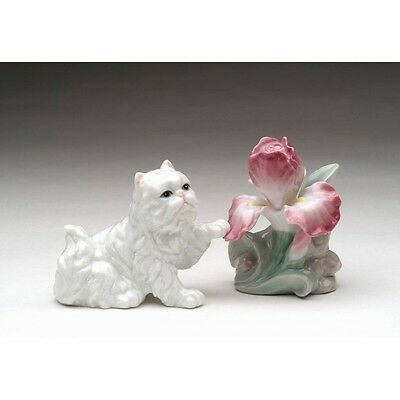 ✜ COSMOS Persian Cat with Iris Porcelain Salt and Pepper Shaker Set