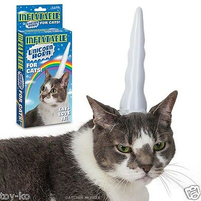 Inflatable Unicorn Horn for Cats!