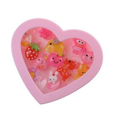 12 pcs Cute Resin Rings in Heart Shaped Pink Box Girls Gift Party Bag W3Z5
