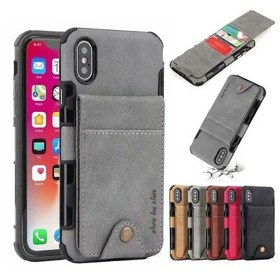 For iPhone XS Max XR 8 7 Plus Retro Leather Wallet Credit Card Back Case Cover C