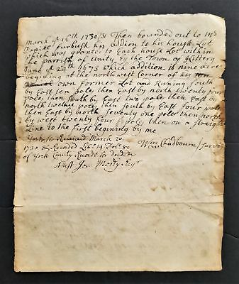 1730 antique COLONIAL DEED kittery me SURVEY PLOT Wm CHADBOURNE Jos Moody signed