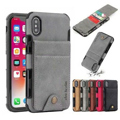 For Huawei P20 Pro Lite Canvas Leather Wallet Credit Card Slot Back Case Cover C