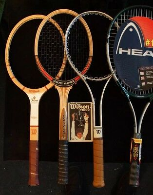 (4) Never Used-Collectible, Wilson, Dunlop & Head Tennis Racquets!