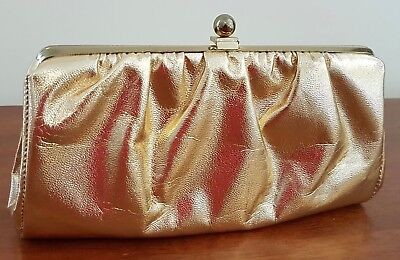 Vintage 60s Made in USA Plastic GOLD Evening Chain Handle Small HANDBAG