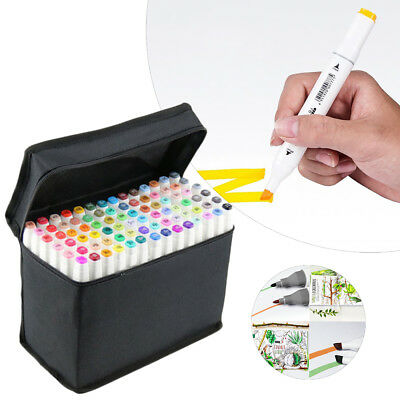 Funny 80 Colours Set Oil marker Pen Dual Headed Artist Copic Drawing Sketch UK