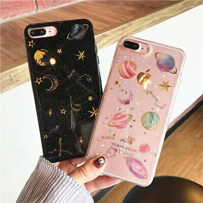 1x Shockproof Silicone Galaxy Clear Phone Case Cover for iPhone X 6 7 8 Plus CN