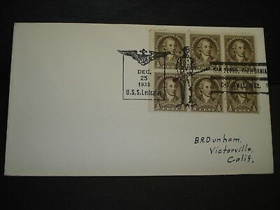 USS LEXINGTON CV-2 Naval Cover 1933 CHRISTMAS Cachet SUNK WWII