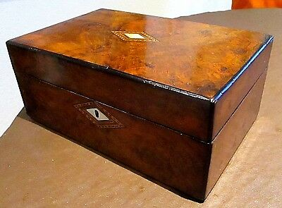 Victorian Burr Walnut Sewing/jewellery Box,inlay Bands,red Lined Interior.