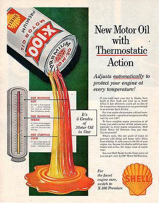 "Vintage Original 1957 Shell X-100 Motor Oil Magazine Advertisement 10"" X 13"""