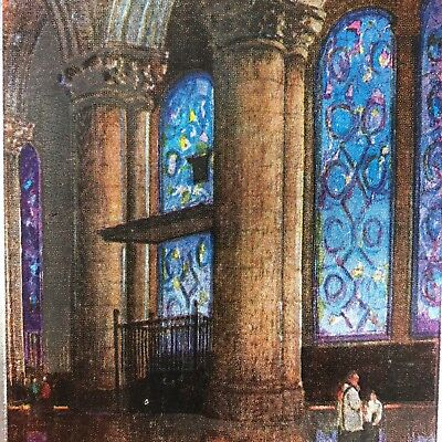 Vintage Art Deco Christmas Greeting Foil Church Stained Glass Windows Antique